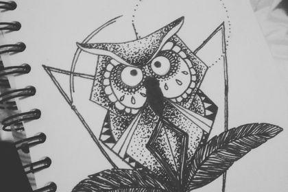 Hibou géométrique réalisé au feutre à alcool