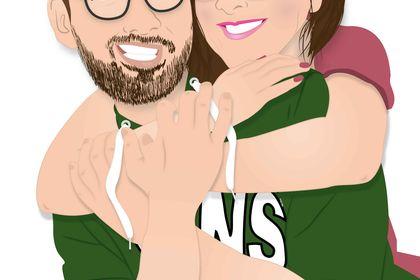Portrait couple cartoon