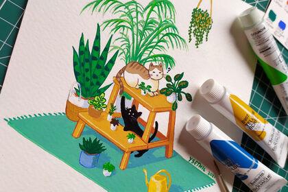Chats, plantes et jeu