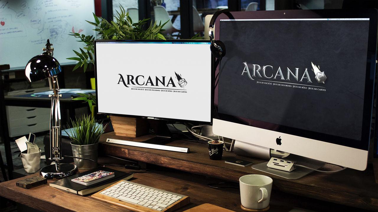 Design de logo - Arcana, boutique de jeux de rôle