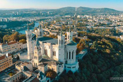 Drone Basilique Notre Dame de Fourvière, Lyon