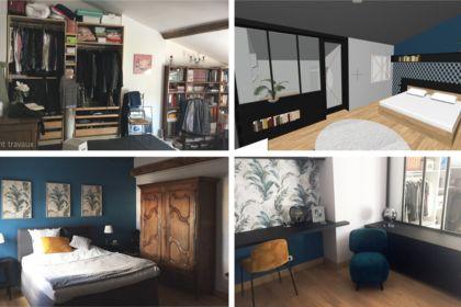 Aménagement d'une chambre avec dressing et bureau