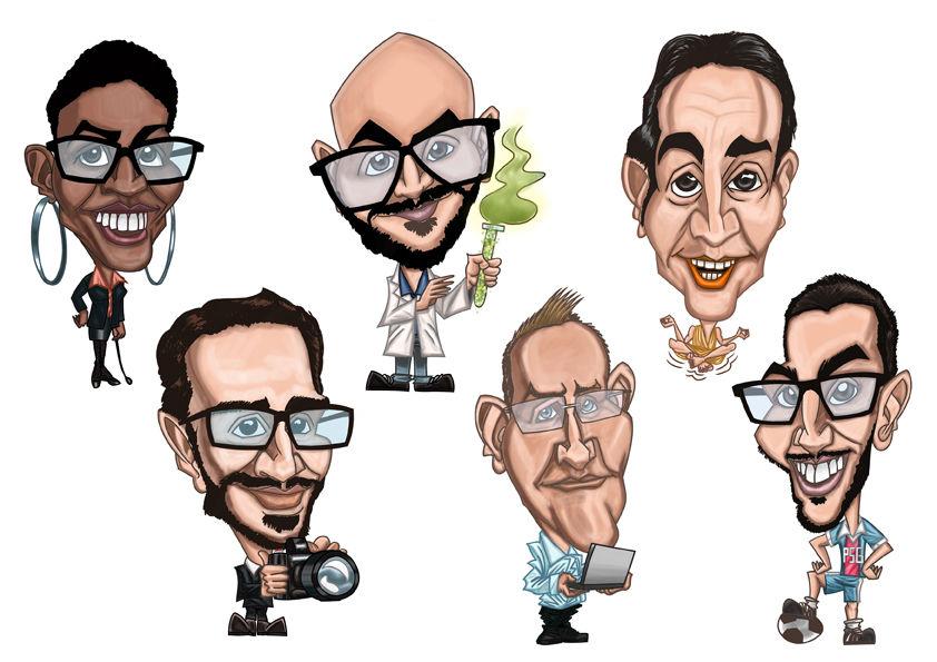 Réalisation 6 portraits/caricatures