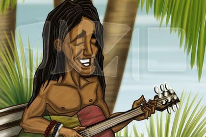 Jeune reggae à la guitare
