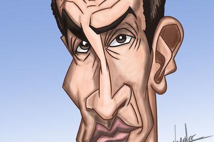 Caricature de Jean Dujardin en couleur