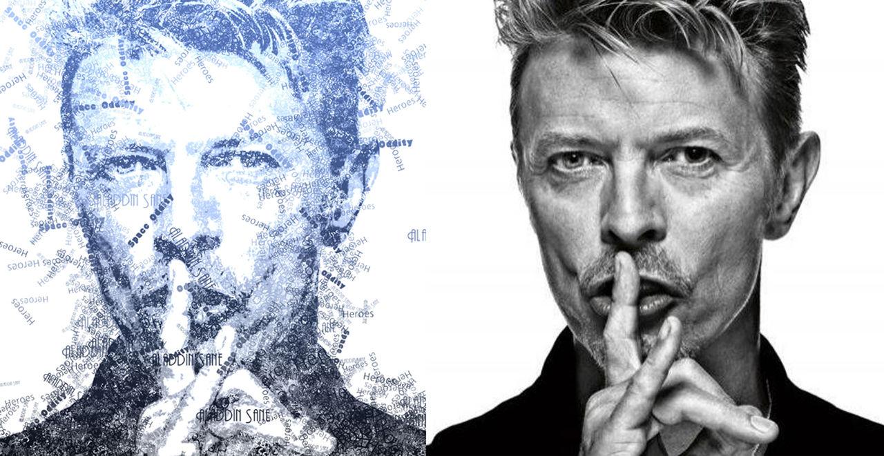 Portrait Effet Typo David Bowie