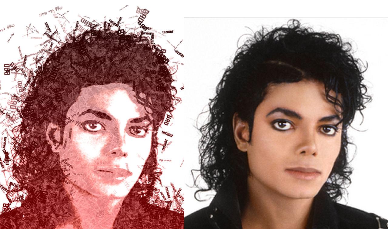 Portrait Effet Typo Michael Jackson