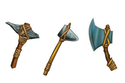 Armes (pioche,marteau,hache)