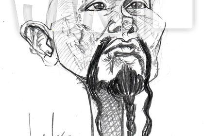 Caricature de Chow-Yun-Fat en noir et blanc