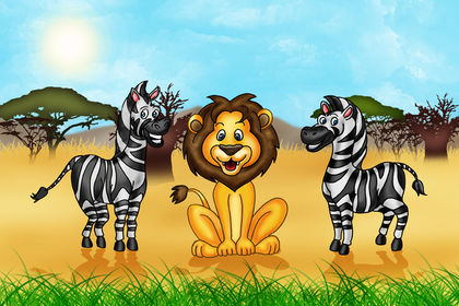 Lion et zèbres dans la savane