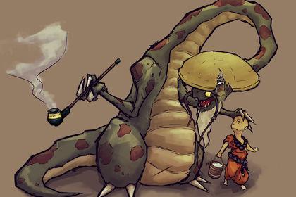 A dragon with its aprentice rider