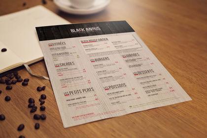 Carte de restaurant - Black Angus