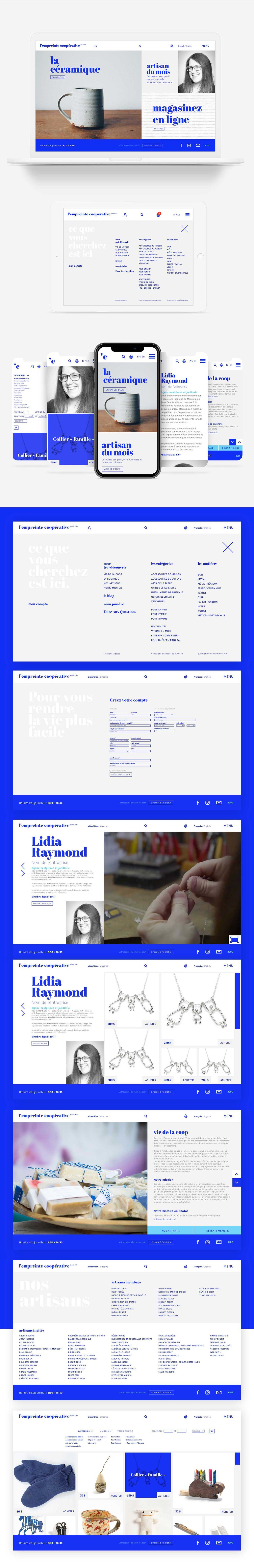 Site internet d'une galerie-boutique à Montréal