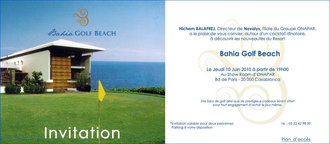 Invitation Bahia Golf Beach
