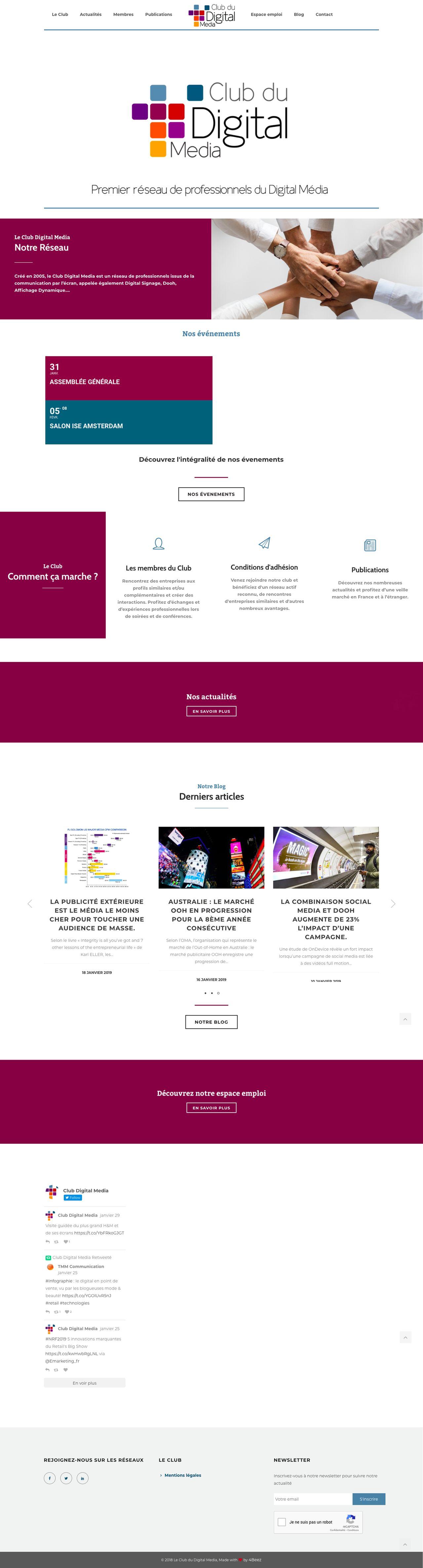 Création du site institutionnel Club digital media