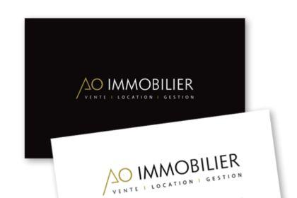 Logo et carte de visite AO Immobilier