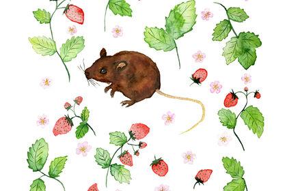 Illustration d'une souris au milieu des fraises