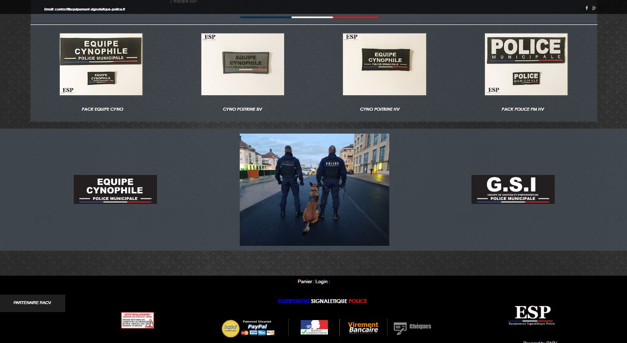 Page d'acceuil Site Police ESP