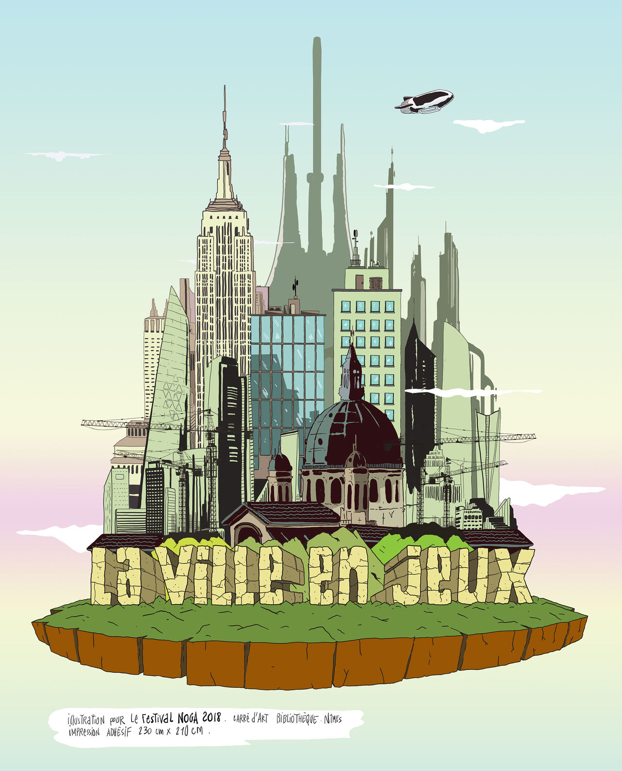 """Affiche de l'exposition """"la ville en jeux"""""""