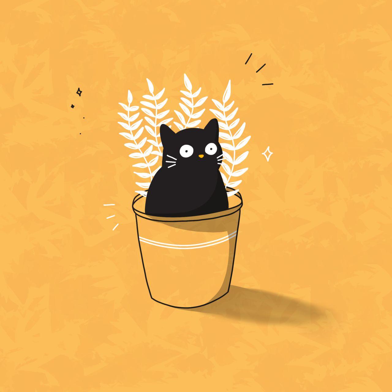 Illustration Chat & Plantes
