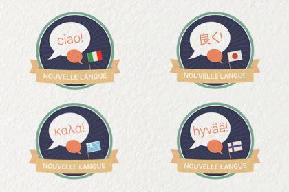 Badges d'apprentissage de langues