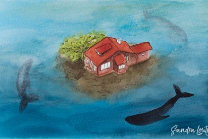 Île marine à l'aquarelle