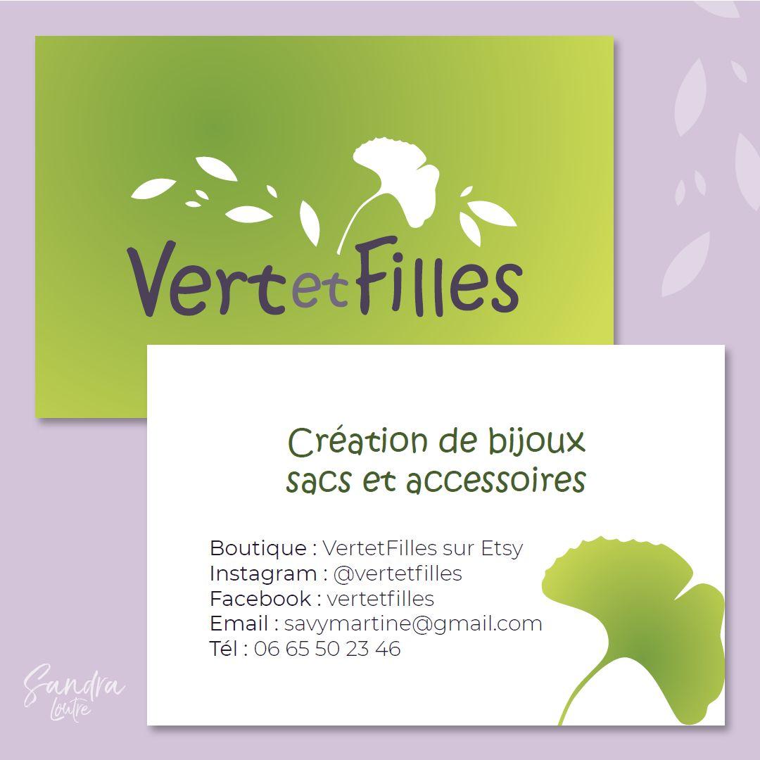 Logo et carte de visite Vert et Filles