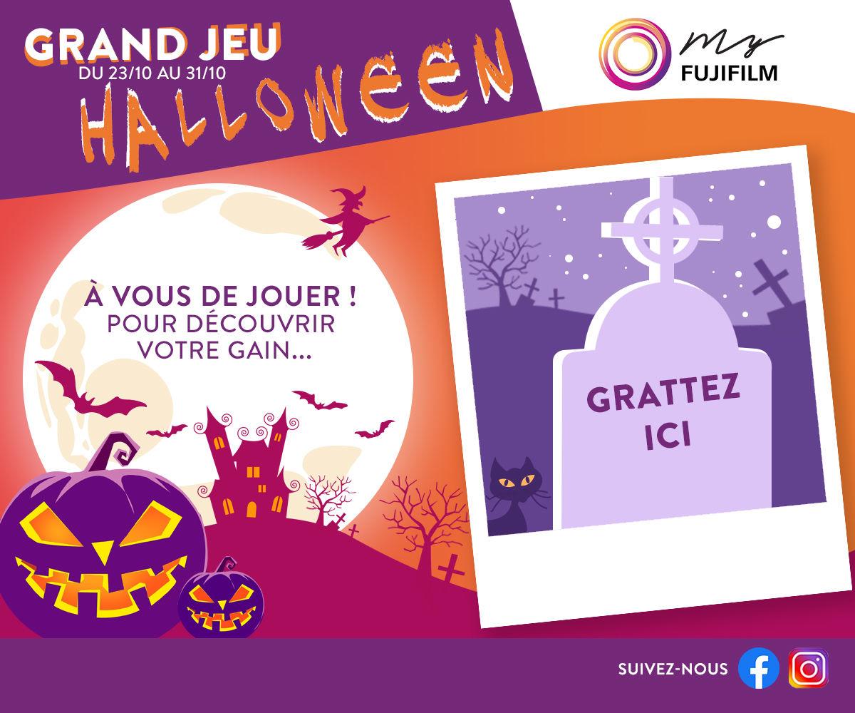 Jeu marketing pour Halloween - écran grattage