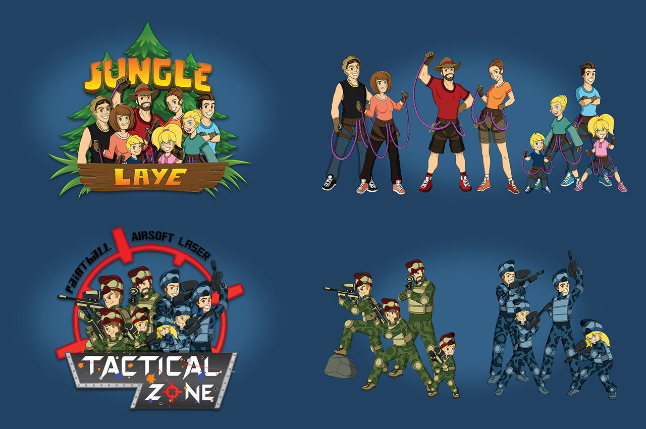 Logo & illustrations parc accrobranche & paintball