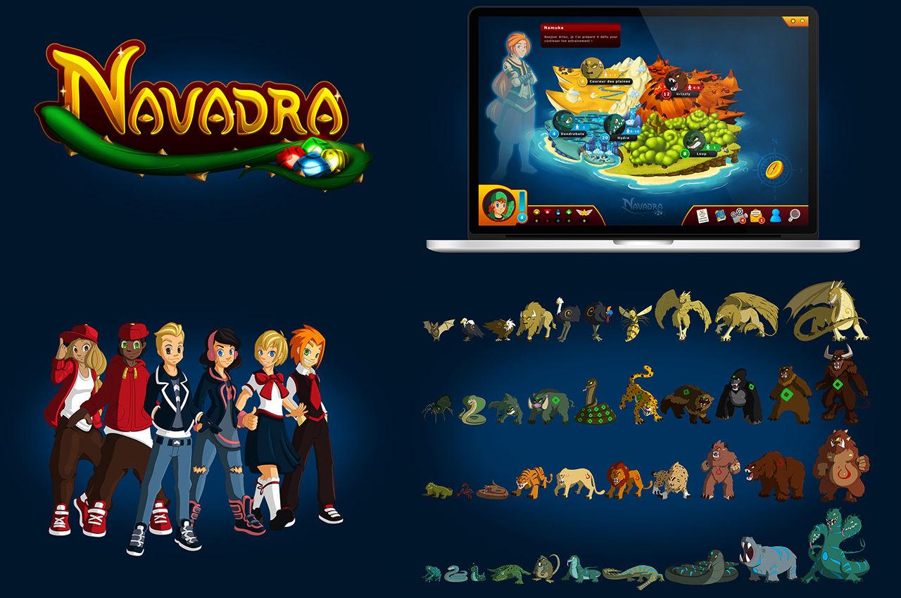 Illustrations et interface pour Navadra, jeu vidéo
