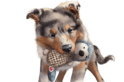Digital painting de mon chien