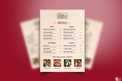 "Carte / Menu  ""Sizzle - Restaurant BBQ"""