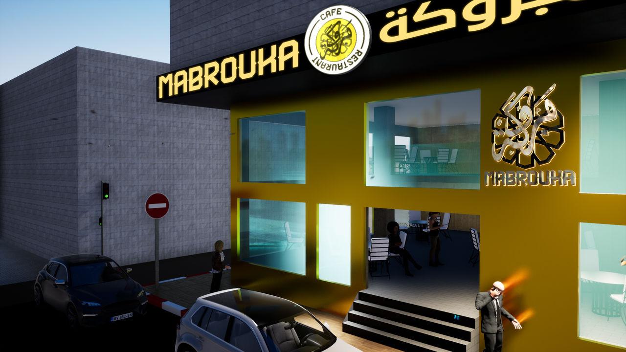 Conception 3D extérieur café et restaurant