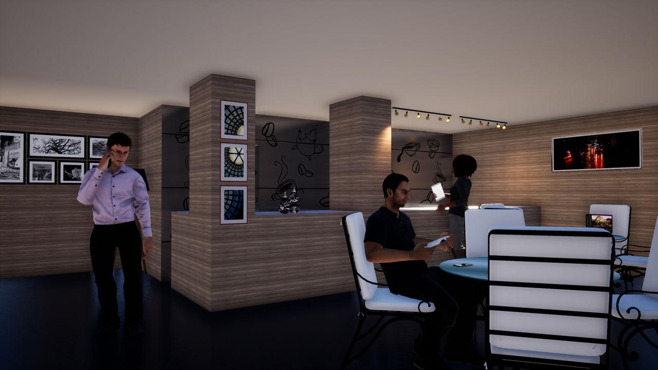 Conception 3D intérieur Café et restaurant