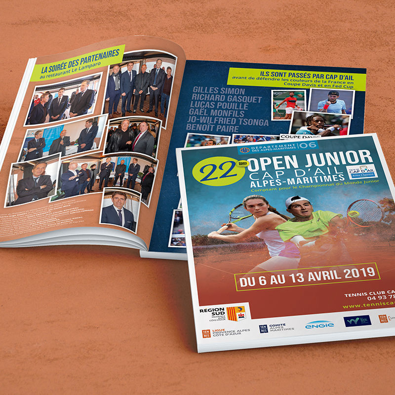 Création d'une brochure 32 pages Open de Tennis
