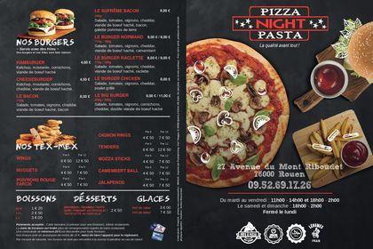 Menu Pizza Night Pasta