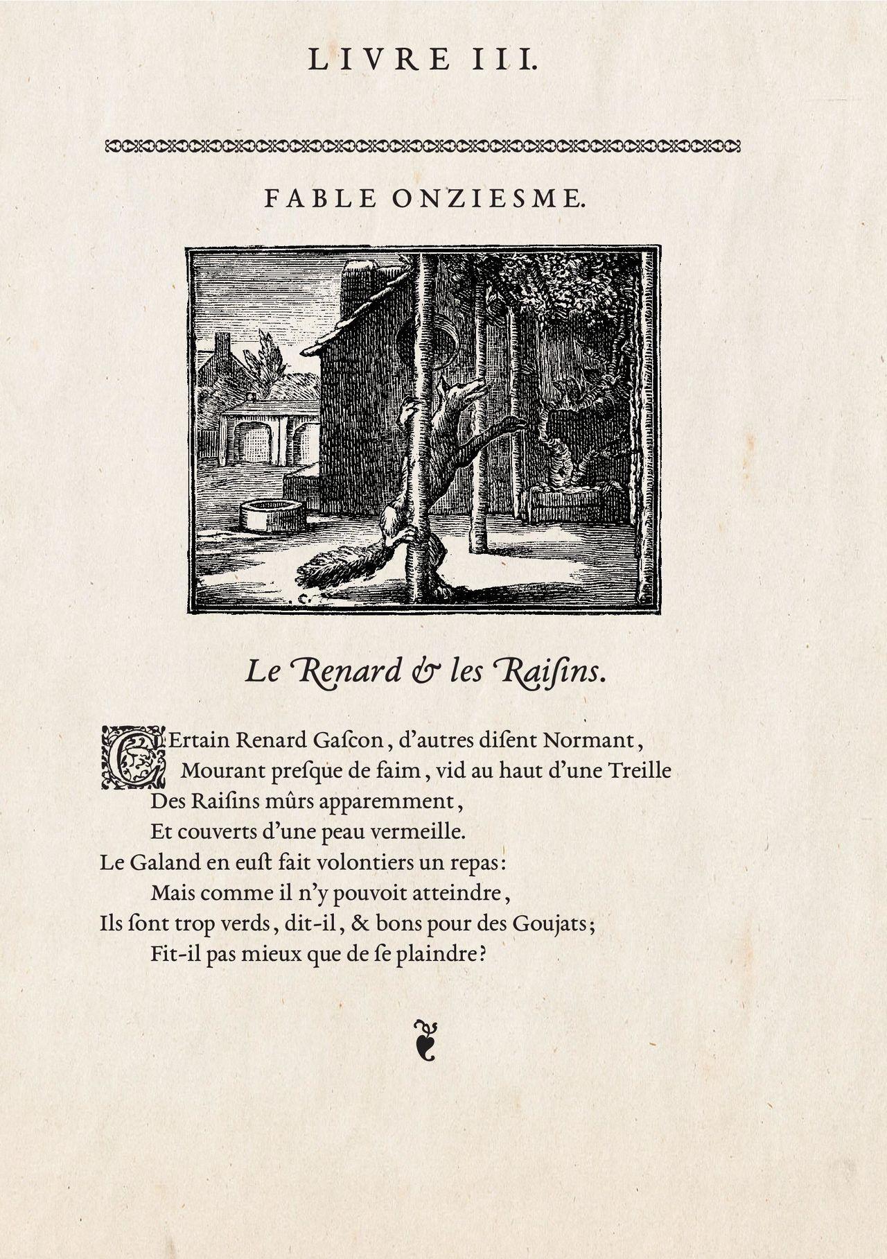 Jean de La Fontaine, «le Renard et les Raisins».