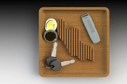 Vide poche en bois massif - 3D