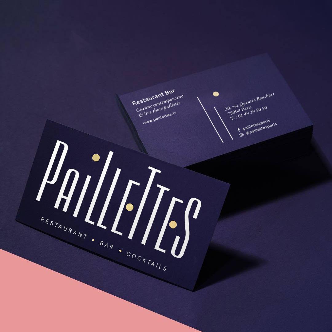 Carte de visite restaurant Paillettes