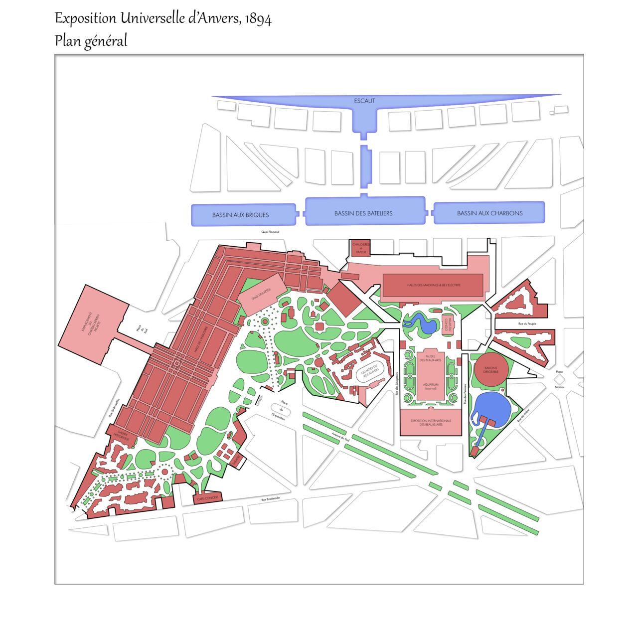 Plan de l'exposition universelle d'Anvers