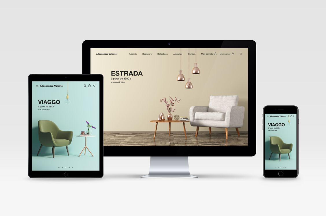 Site e-commerce pour Alessandro Valente Décoration