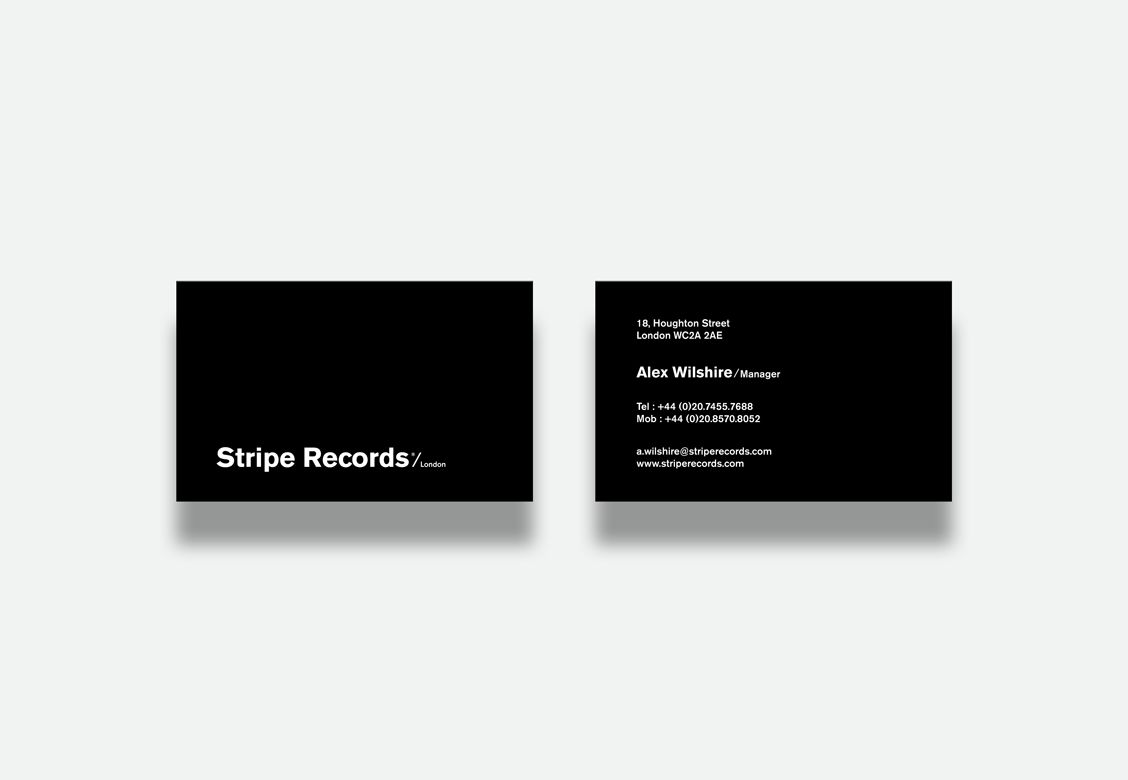 Cartes de visite pour Stripe Records