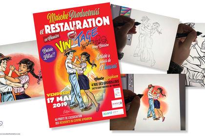 Affiche avec Illustration pour Fete Dansante