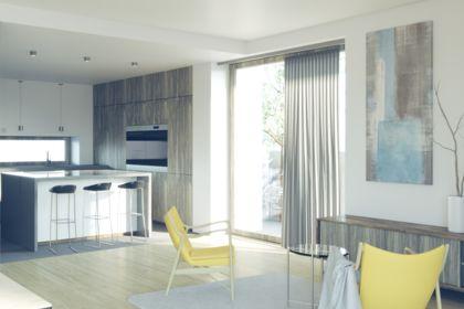 Perspective 3D d'intérieur de séjour d'appartement