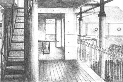 Vue intérieure d'une maison Noir et Blanc 2