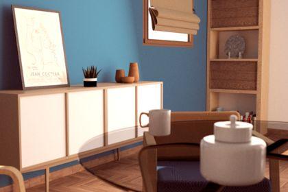 Perspective 3D intérieur salon style Pop