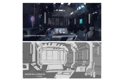 Illustration 3D futuriste pour un serious game