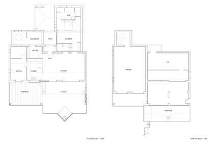 Plans RDC extension de maison individuelle