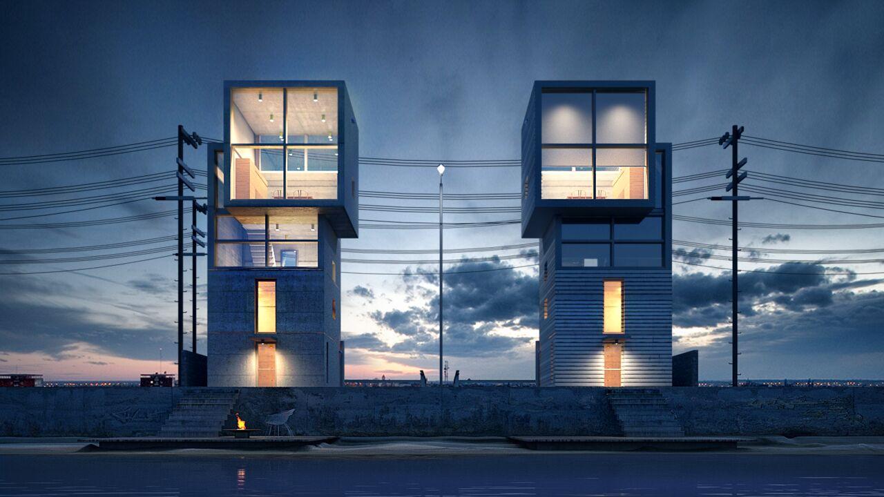 Scène 3D de la 4X4 House, Tadao Ando