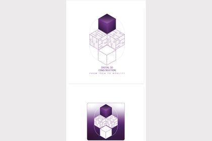 Logo startup digital 3D construction